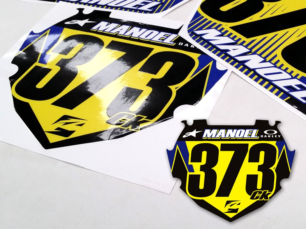 Custom designed bmx number plate decals