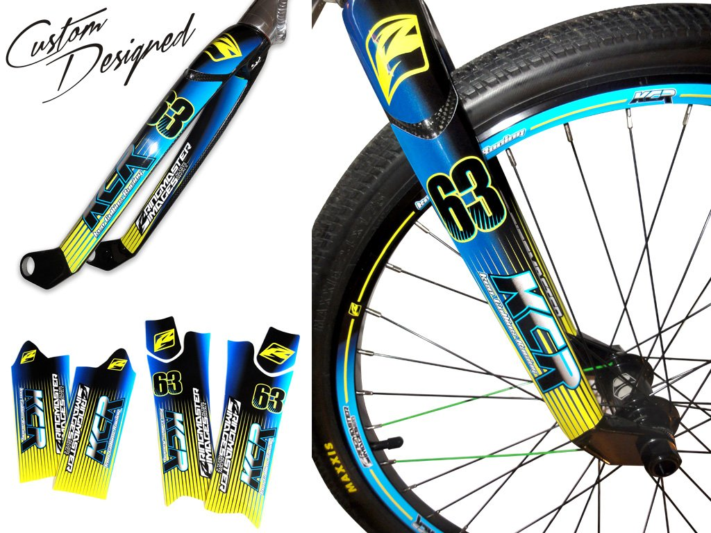 Custom designed bmx fork wraps decal kits